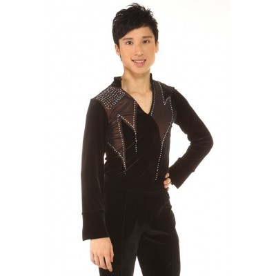 Figure skating top - black - long sleeves - sequin - rhinestone - Black