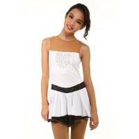 花样滑冰裙,白色,无袖,水钻