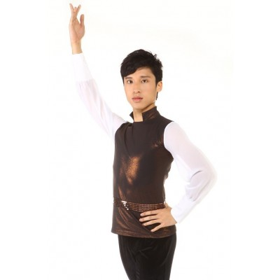 Figure skating top - bronze - long sleeves - high collar - sequins - Bronze