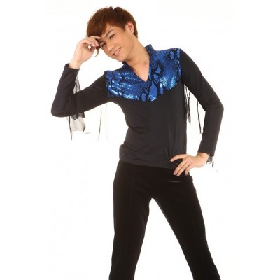 Figure skating top - black - blue - long sleeves - v-neck - collar