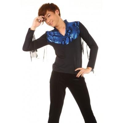 花样滑冰上衣,黑色,蓝色,长袖,V领
