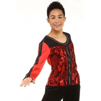 Figure skating top - black - red - long sleeves - rhinestones 2 - Red