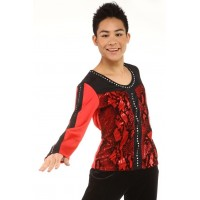 花样滑冰上衣,黑色,红色,长袖,水钻