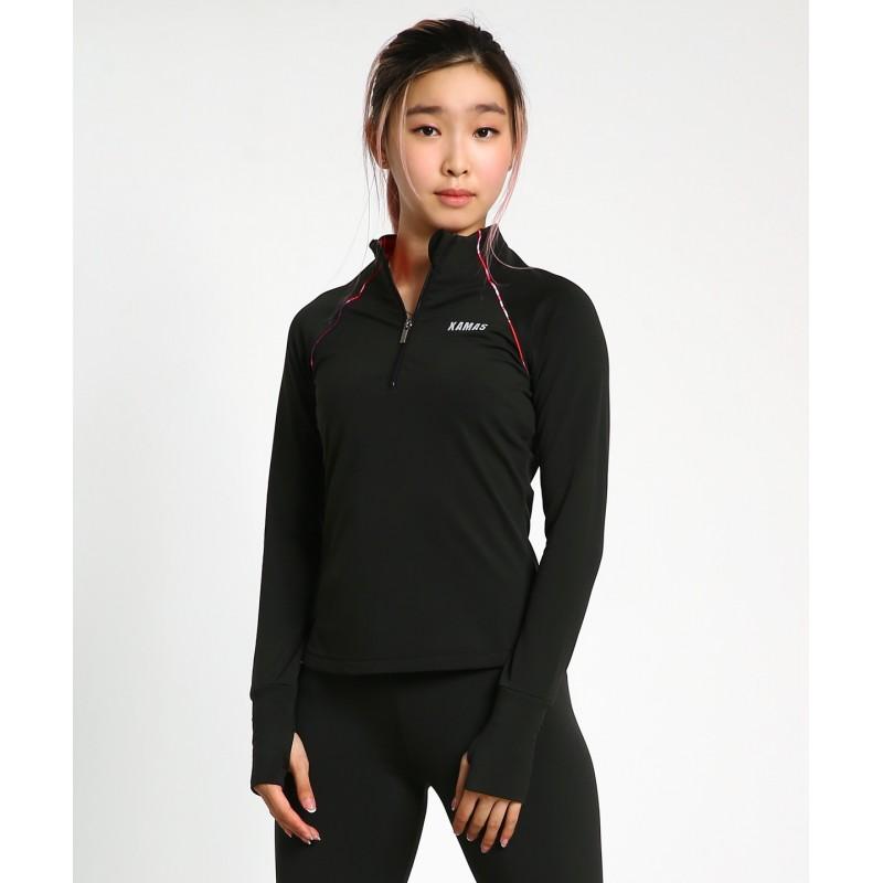 Agate 1/4 zip long sleeve micro-fleece thumb hole shirt - Gemstone series