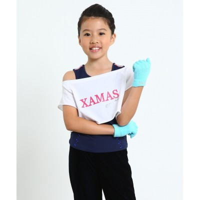 XAMAS on ice short sleeve crop top