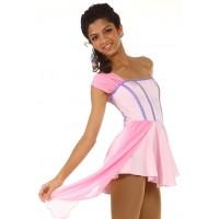 花样滑冰裙,粉红色,腰带,单肩,水钻