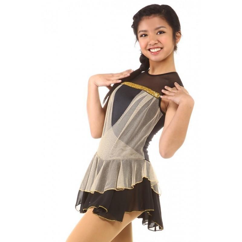 花样滑冰裙,黑色,无袖,亮片