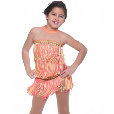 Halter-neck 3-panels tassels dress - figure skating - dance - Flu Orange
