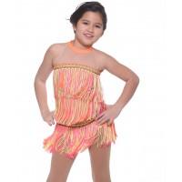 花样滑冰裙 - 荧光橙无袖露背领3层流苏连衣裙 - 舞蹈