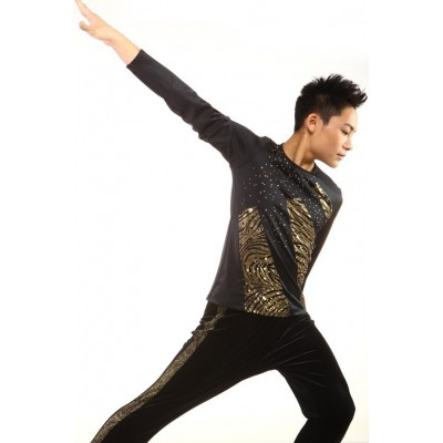 Figure skating top - black - gold - long sleeves - rhinestones - Black
