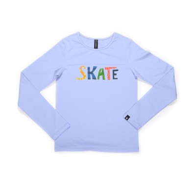 Graphic fun skate long sleeve daily skating tee - Pattern E - Light Purple