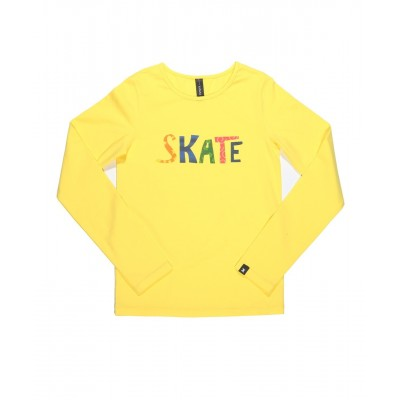 Graphic fun skate long sleeve daily skating tee - Pattern E - Yellow