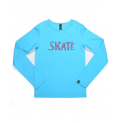 Graphic fun skate long sleeve daily skating tee - Pattern E - Light Blue