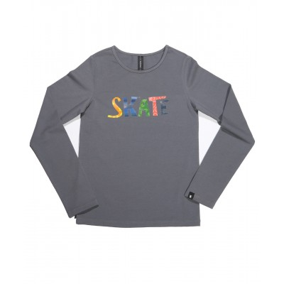 Graphic fun skate long sleeve daily skating tee - Pattern E - Light Grey
