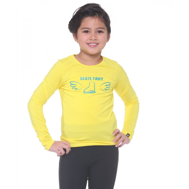 Skate fairy boot with wings long sleeve daily skating tee - Pattern C