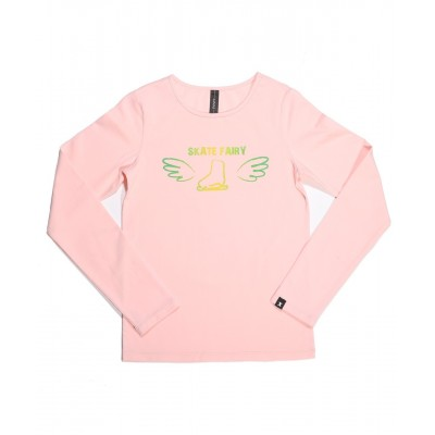 Skate fairy boot with wings long sleeve daily skating tee - Pattern C - Light Pink