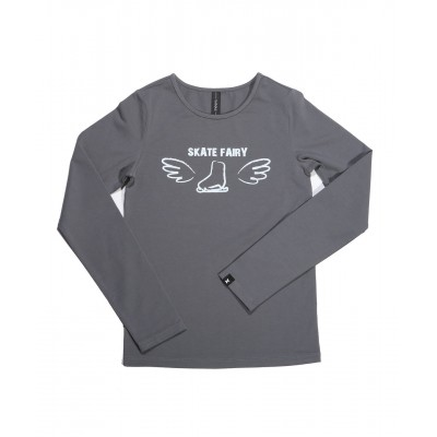 Skate fairy boot with wings long sleeve daily skating tee - Pattern C - Light Grey
