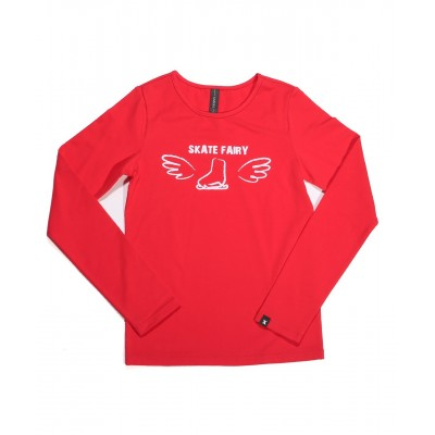 Skate fairy boot with wings long sleeve daily skating tee - Pattern C - Red