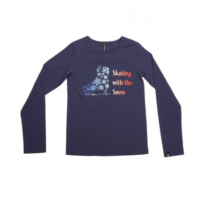 Skating with the snow long sleeve daily skating tee - Pattern A - Royal Blue