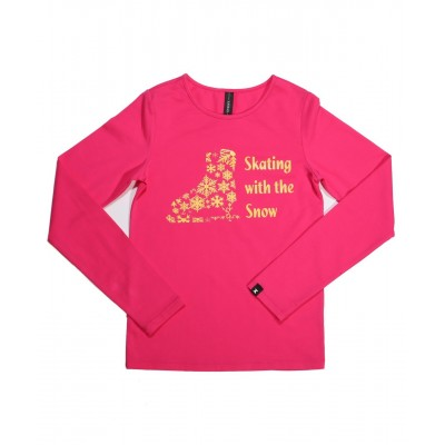 Skating with the snow long sleeve daily skating tee - Pattern A - Hot Pink