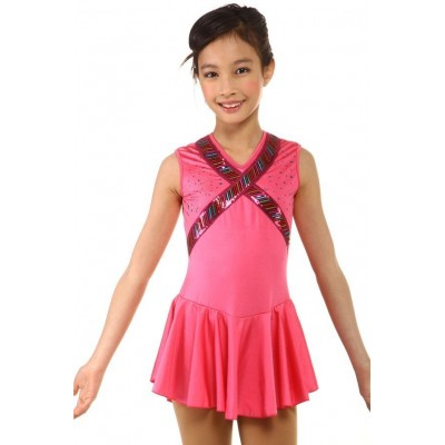 Figure skating dress - pink - sleeveless - rhinestone