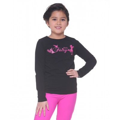 Skate fairy magical long sleeve daily skating tee - Pattern D - Black