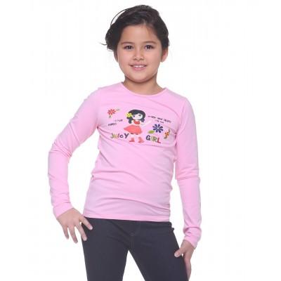 Juicy girl 长袖T恤 图案 B - 粉红色
