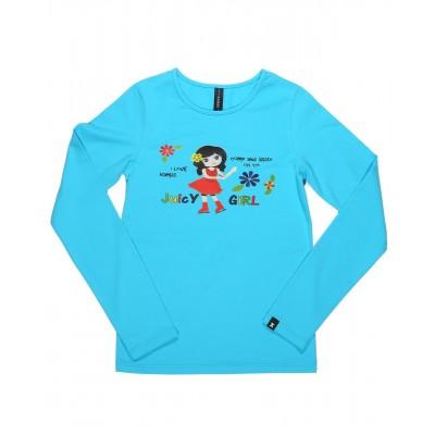 Juicy girl 长袖T恤 图案 B - 浅蓝色