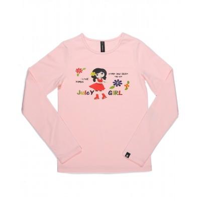 Juicy girl 长袖T恤 图案 B - 浅粉红