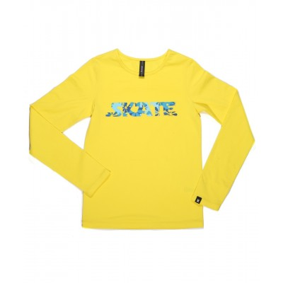 Graphic flower skate long sleeve daily skating tee - Pattern F - Yellow