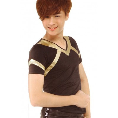 Figure skating top - black - gold - short sleeves - v-neck 1
