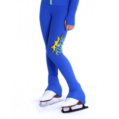 Heel cover solid colour skating pants with graphic skater print on thigh - Cobalt Blue