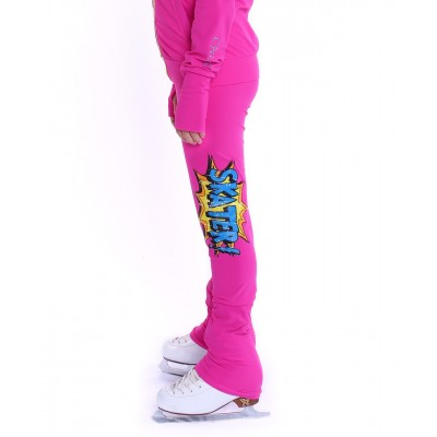 Heel cover solid colour skating pants with graphic skater print on thigh - Hot Pink