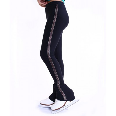 Figure-skating pants - cover the boots - long - Pattern B - Black