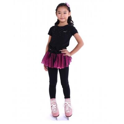 花样滑冰训练长裤裙 - 包鞋 - 亮丽俏皮圆点裙 - 萤光粉红