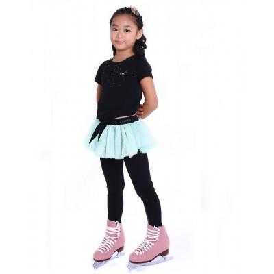 花样滑冰训练长裤裙 - 包鞋 - 亮丽俏皮圆点裙 - 浅绿色