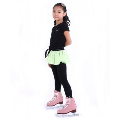 花样滑冰训练长裤裙 - 包鞋 - 亮丽俏皮圆点裙 - 荧光绿