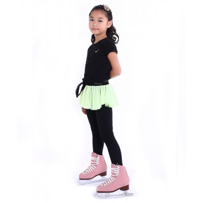 Polka dot party heel cover skating pants with layered skirt - Flu Green
