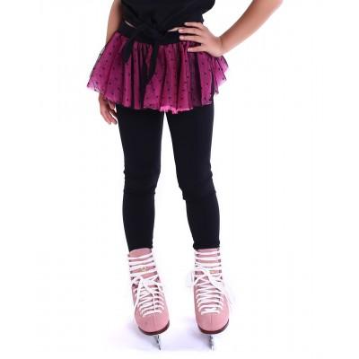 Polka dot party heel cover skating pants with layered skirt - Flu Pink