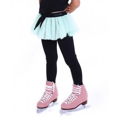 Polka dot party heel cover skating pants with layered skirt - Light Green