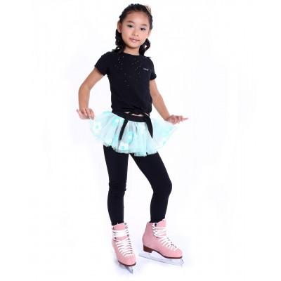 花样滑冰训练长裤裙 - 包鞋 - 亮丽可爱花朵裙 - 浅绿色