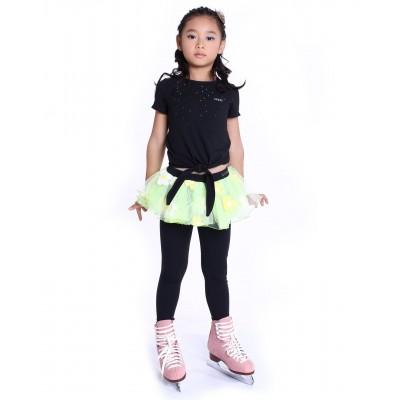 花样滑冰训练长裤裙 - 包鞋 - 亮丽可爱花朵裙 - 黄色