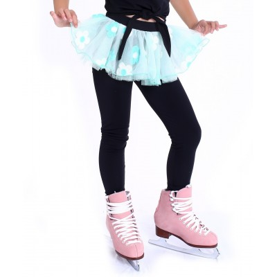 Flower pops heel cover skating pants with layered skirt - Light Green