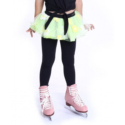 Flower pops heel cover skating pants with layered skirt - Yellow