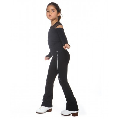 Heel cover skating pants with thin white stripe, heat generating