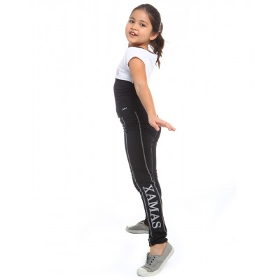 Heel cover skating pants with side stripes logo print