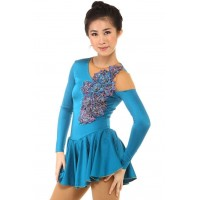 Figure skating dress - blue - long-sleeves - rhinestones 1