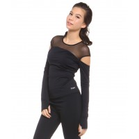 Scoop-neck cut-out long sleeves top with thumb holes
