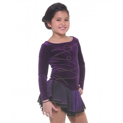 Velvet boat neck long sleeve figure skating dress with rhinestones - Dark Purple