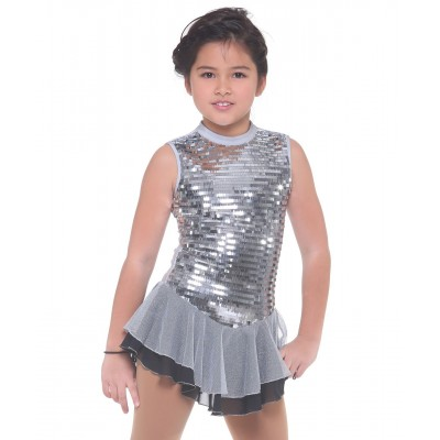 Mirror ball sleeveless jewel neck figure skating dress with silver sequins